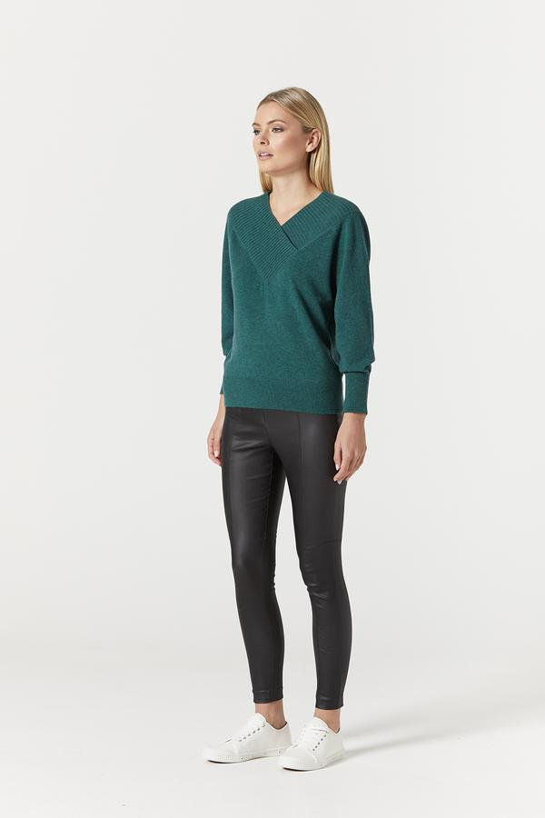 Cashwool Shawl Jumper Moss Green | Cable Melbourne