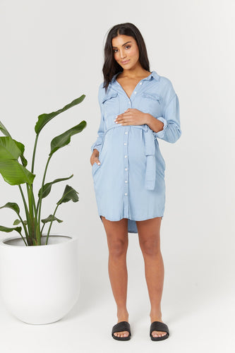 Denim Tencel Shirtdress - Tencel Blue
