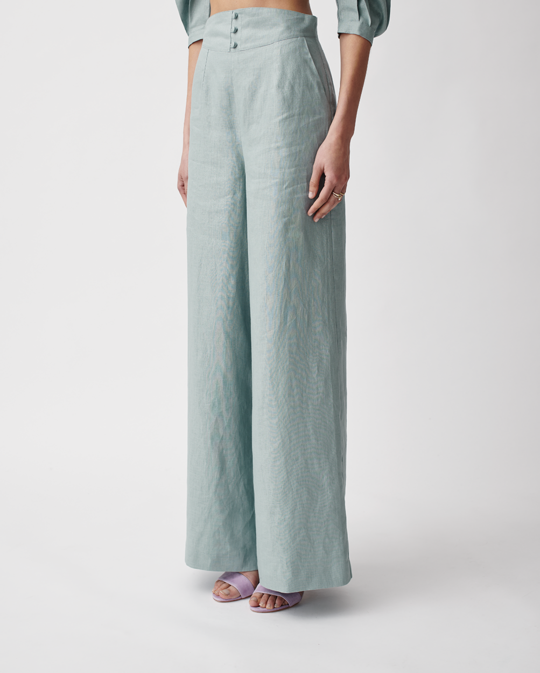 Marilyn Linen Palazzo Pants Seaside Blue | Joslin