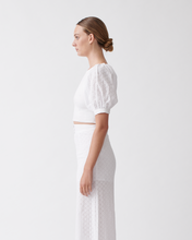 Load image into Gallery viewer, NATASHA LINEN COTTON LACE TOP - Optical white  | JOSLIN STUDIO