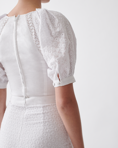 NATASHA LINEN COTTON LACE TOP - Optical white  | JOSLIN STUDIO
