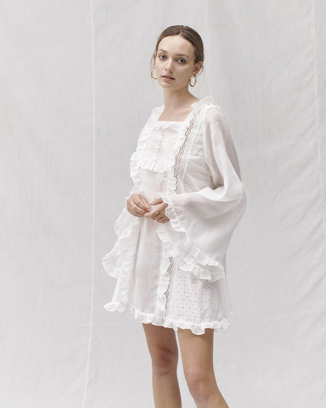 Aspen Ramie Cotton Lace Smock Mini Dress, Ivory | Joslin Studio