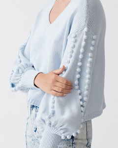 Tyler Cotton Cashmere Knit - Glacial Blue | JOSLIN