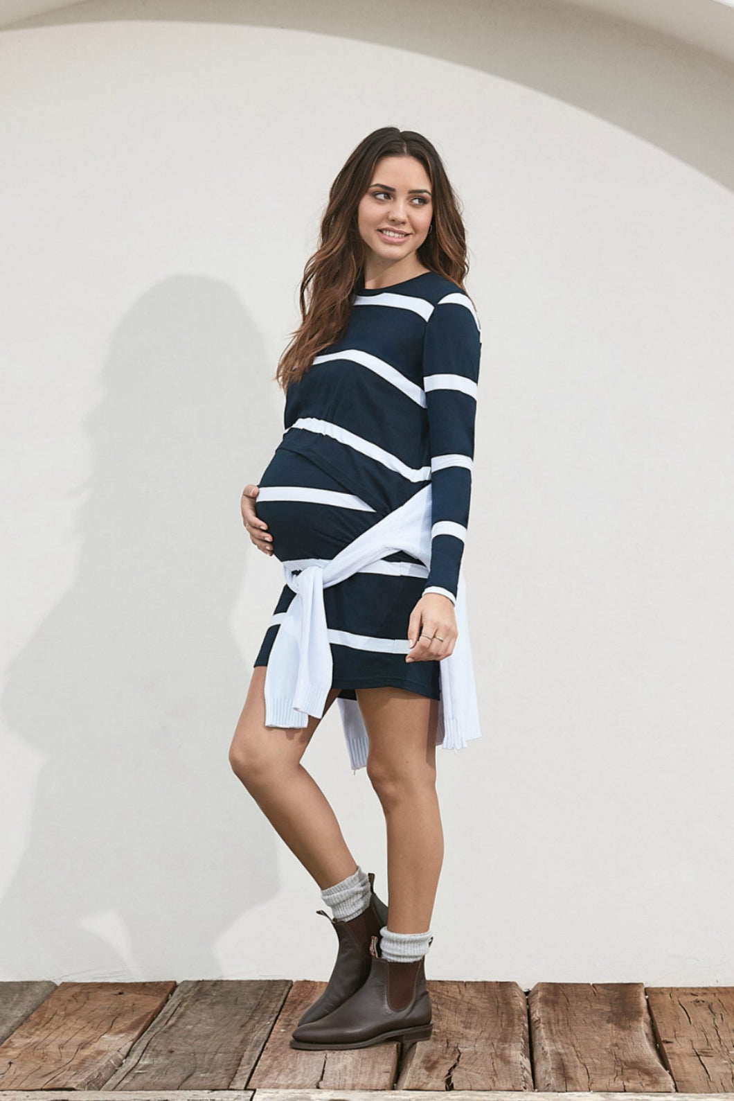 Moss Maternity Dress, Navy Stripe