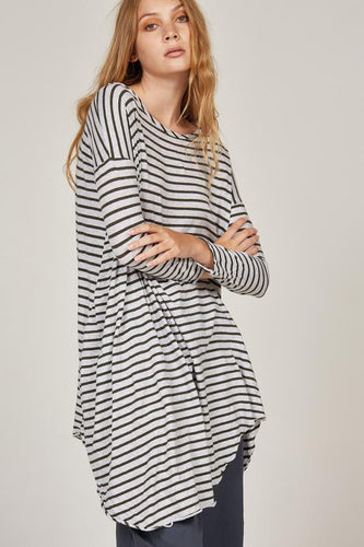 Piqi Tunic - Khaki & Grey Stripe