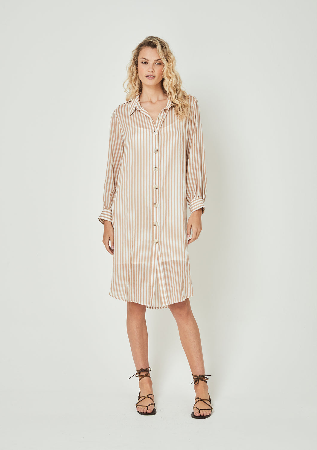Tour Shirt Midi Dress Almond - Auguste