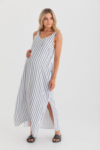 Ryder Dress (White/Navy Stripe)
