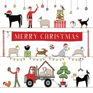 The Christmas Parade, Square Card | Red Tractor Designs