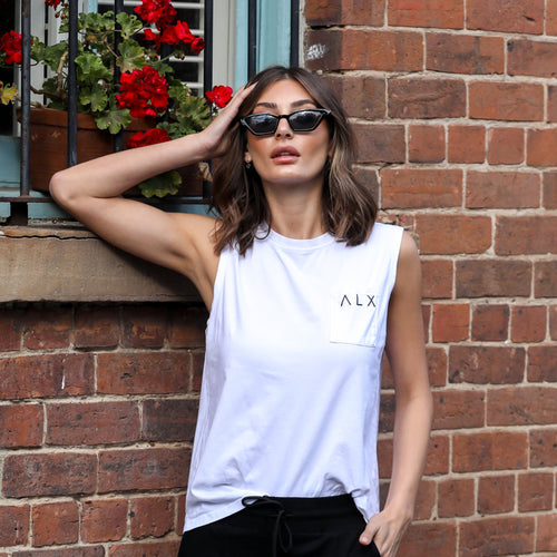 ALX Tank with pocket, White | A L E X A N D R A