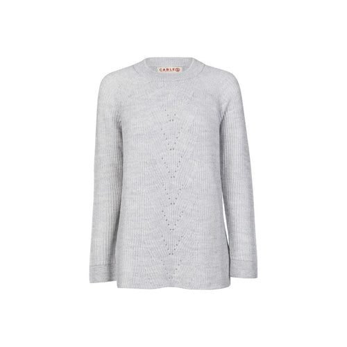 Cassie Plated Sweater- Grey Marle