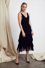 Load image into Gallery viewer, Paloma Fringe Dress in Black