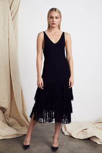 Paloma Fringe Dress in Black