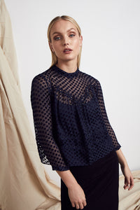 Dreams Silk Top - Navy Silk Dot