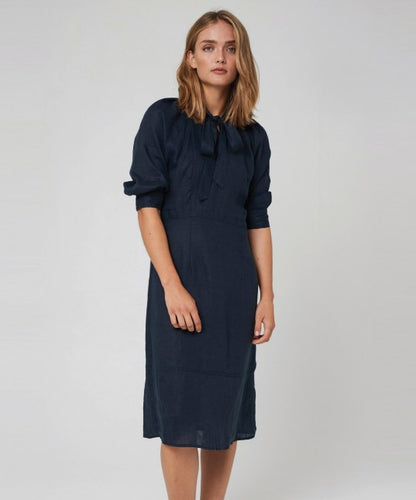 Aimee Linen Dress Navy Morrison