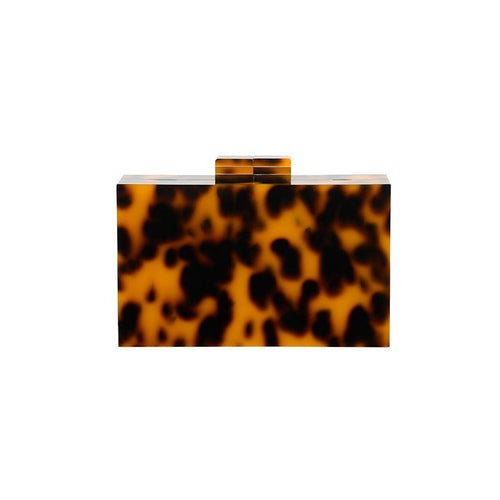 Resin Clutch V2 w/ Gold Chain Tortoiseshell