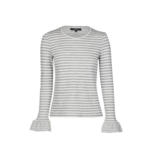 Stripe Frill Top - Grey Marle