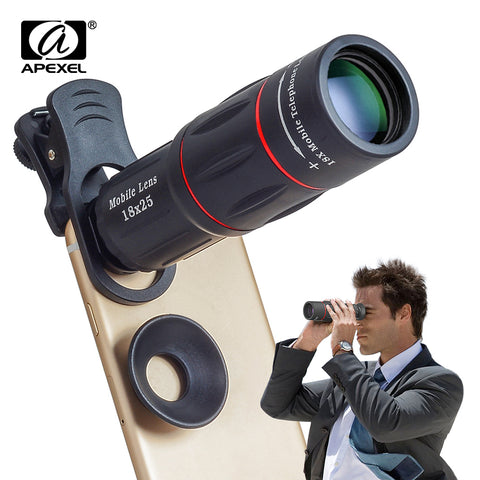 APEXEL 18X Telescope Zoom Mobile Phone Lens for iPhone Samsung Smartphones universal clip Telefon Camera Lens with tripod 18XTZJ
