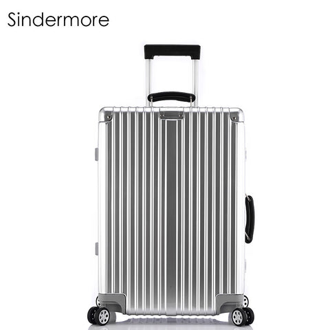 "Sindermore 20""24""26""28"" Vintage Rolling hardside luggage travel suitcase with wheels Leather handles Custom laser engraving"