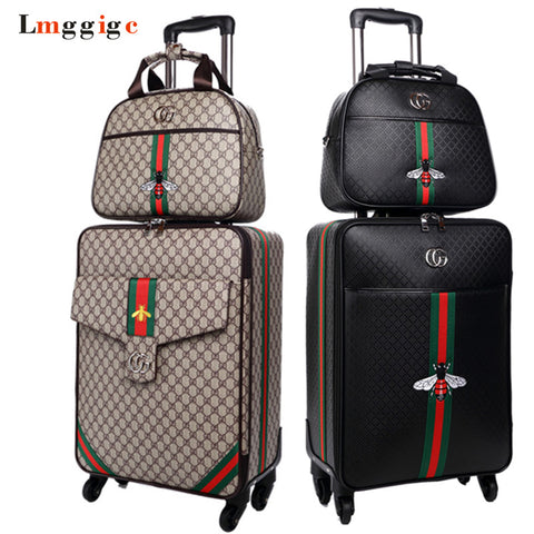 "Women 's Travel Luggage Suitcase bag set,Waterproof PU leather Box with Wheel ,16""20""24"" inch Rolling Trolley case"