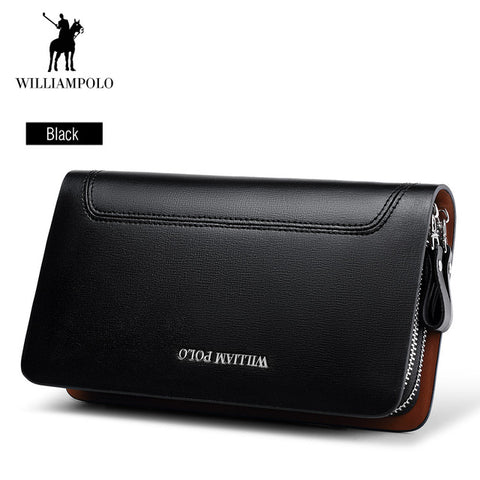 WilliamPOLO Real Genuine Leather Male's Wallet High-quality Double-zipper Cowskin Clutch Phone Pocket Classic Design Fashion 8