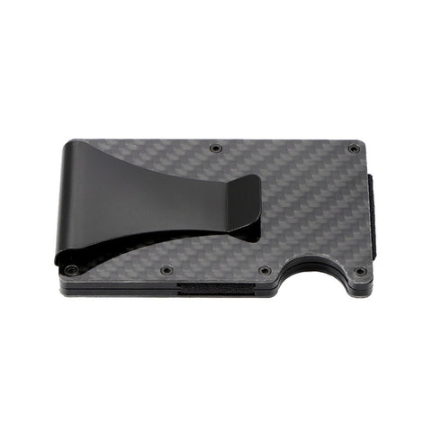 Slim Carbon Fiber Credit Card Holder RFID Metal Money Clip