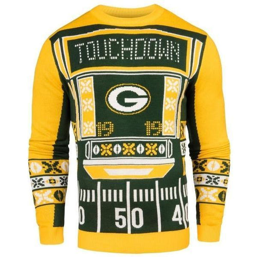 Green Bay Packers Men's Touchdown Sweater with Blinking Lights