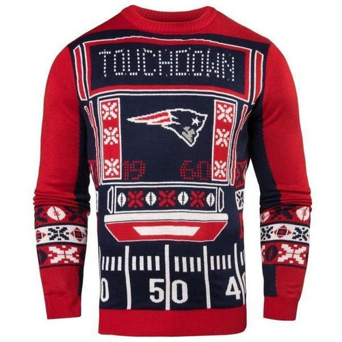 New England Patriots Men's Touchdown Sweater with Blinking Lights