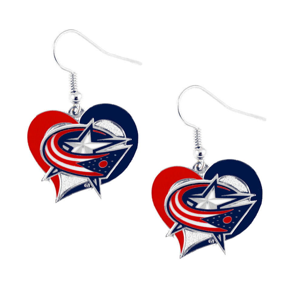 Columbus Blue Jackets Swirl Heart Pierced Earrings