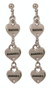 Las Vegas Raiders Triple Heart Post Earrings