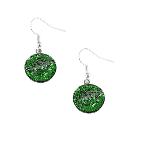 Minnesota Wild Glitter Pierced Dangle Earrings
