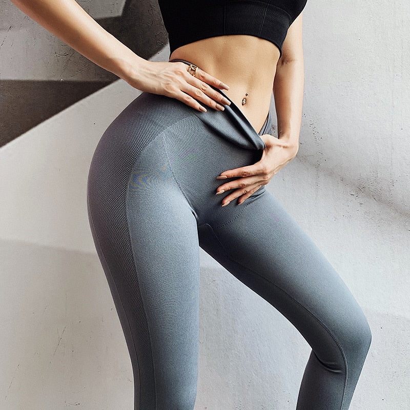 High Waist Letter Seamless Flex Leggings