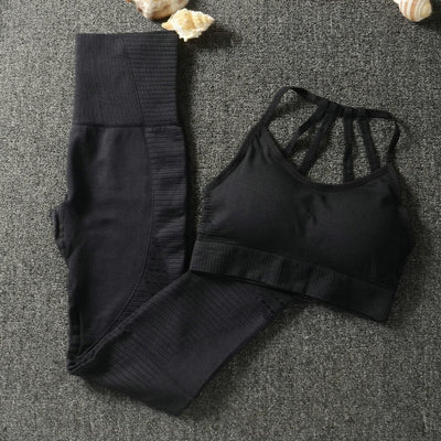 Strappy Bra Seamless Yoga Set