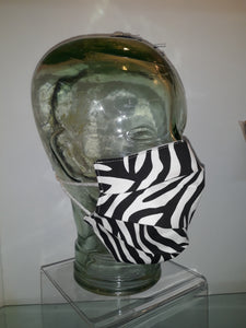 Black/White Zebra Pleated Reversible Mask
