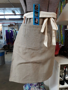 Neutral Color Heavy Weight Linen Apron/ waist-high /with ties and 4 pockets