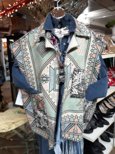 Southwest Print/ Crazy Kooky Rug Vest with collar and pockets/ One Size