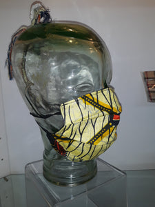 African Yellow/ Red/ Black Pleated Mask