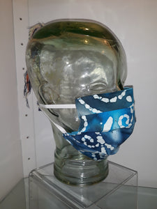 Blue Batik Pleated Reversible Mask