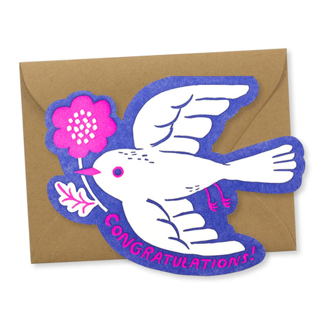 Congrats Card: Bird with Flower