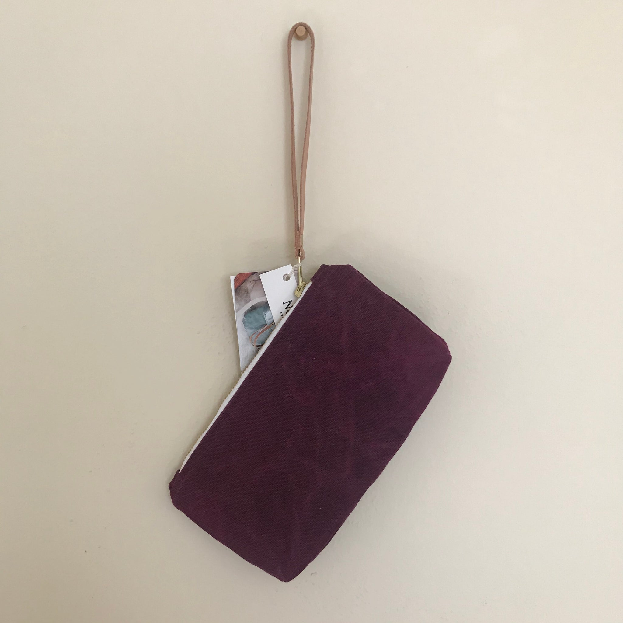 Waxed Canvas Clutch - Mulberry