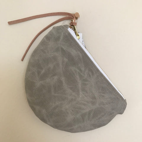 Waxed Canvas Moon Pouch - Aluminum