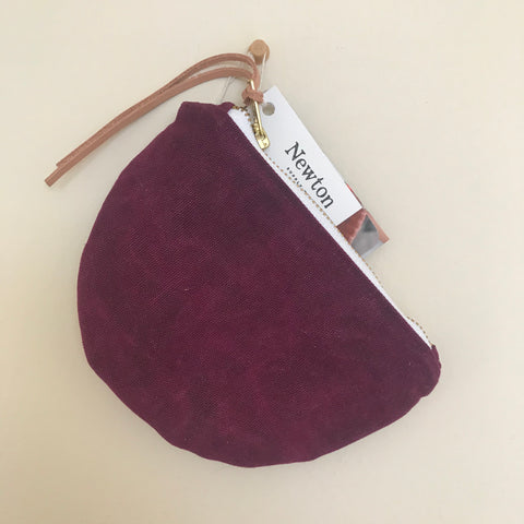 Waxed Canvas Moon Pouch - Mulberry