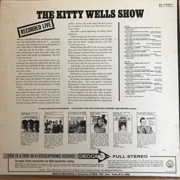 Kitty Wells - The Kitty Wells Show (USED LP)