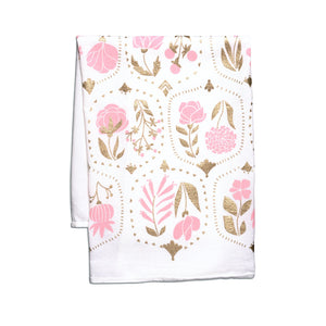 Tea Towel - Vintage Pink & Gold Floral