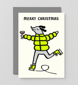 Holiday Card: Skating Dog