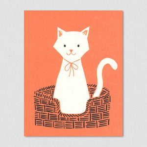 Greeting Card: White Cat
