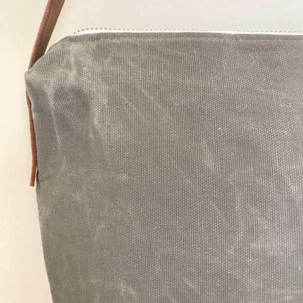 Waxed Canvas Crossbody Bag - Aluminum