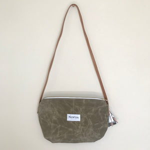 Waxed Canvas Crossbody Bag - Mushroom