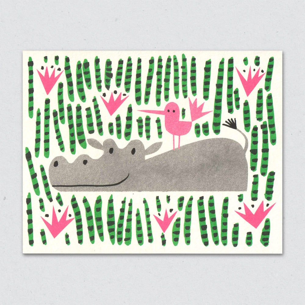 Greeting Card: Hippo