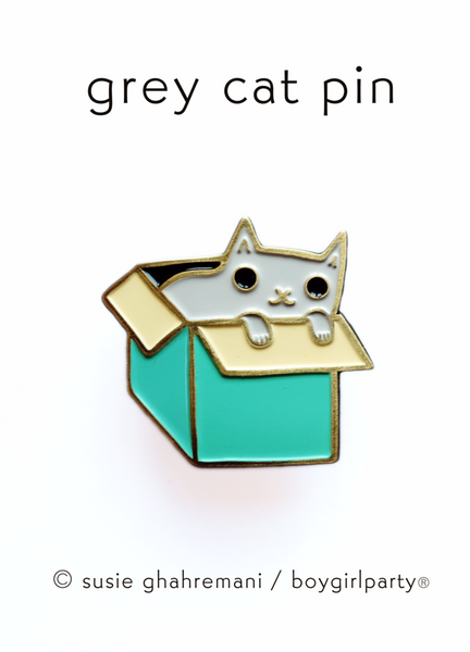 Enamel Pin: Cat in Box (2 color options)