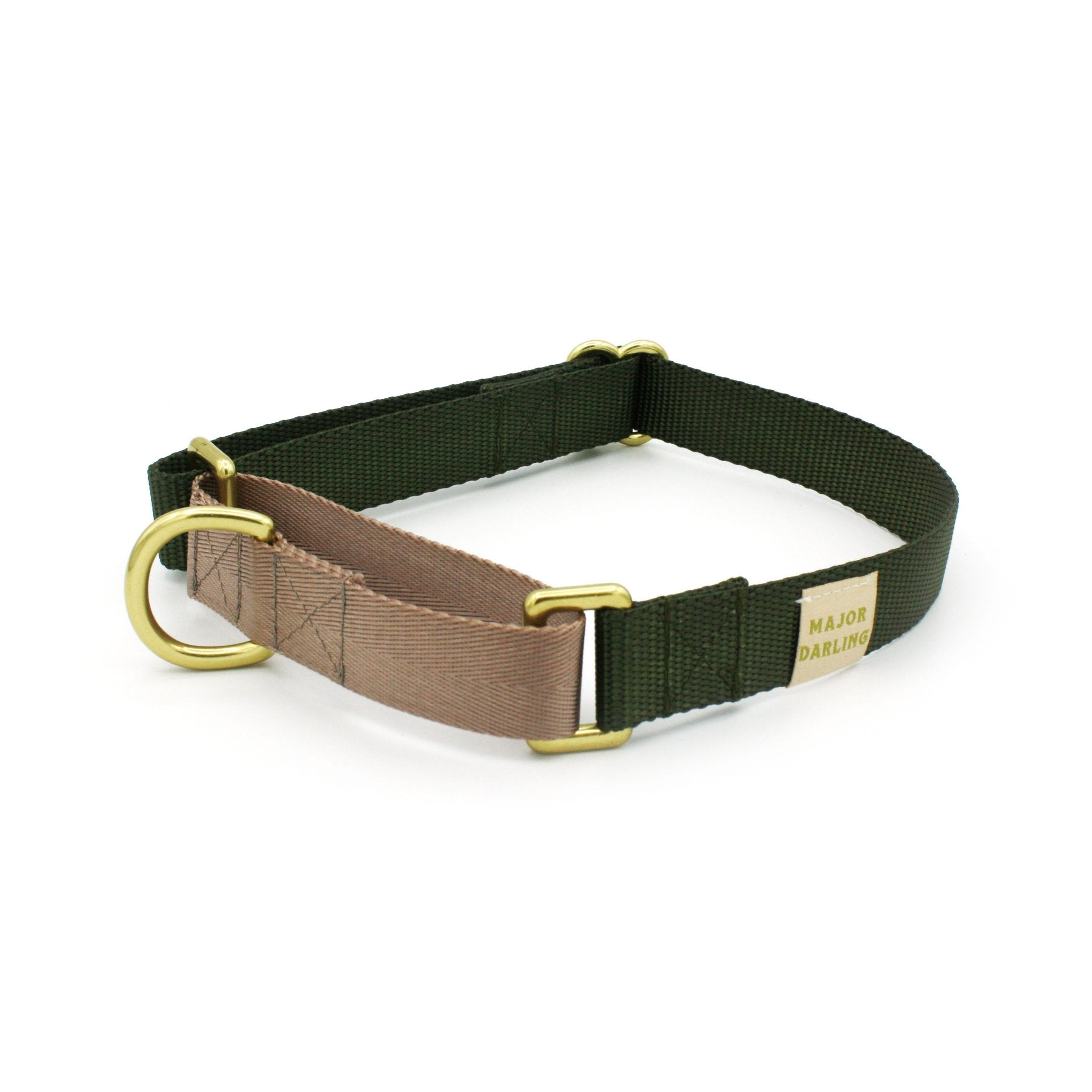 Martingale Collar - Olive + Dusty Rose (MED)